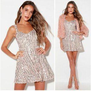 Lulu's Throw Some Glitter Sequin Skater Dress